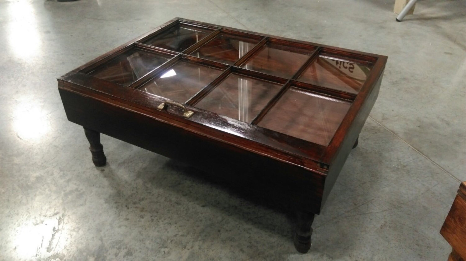 Rustic Coffee Table Military Display Shadow Box 8 Pane Window Storage