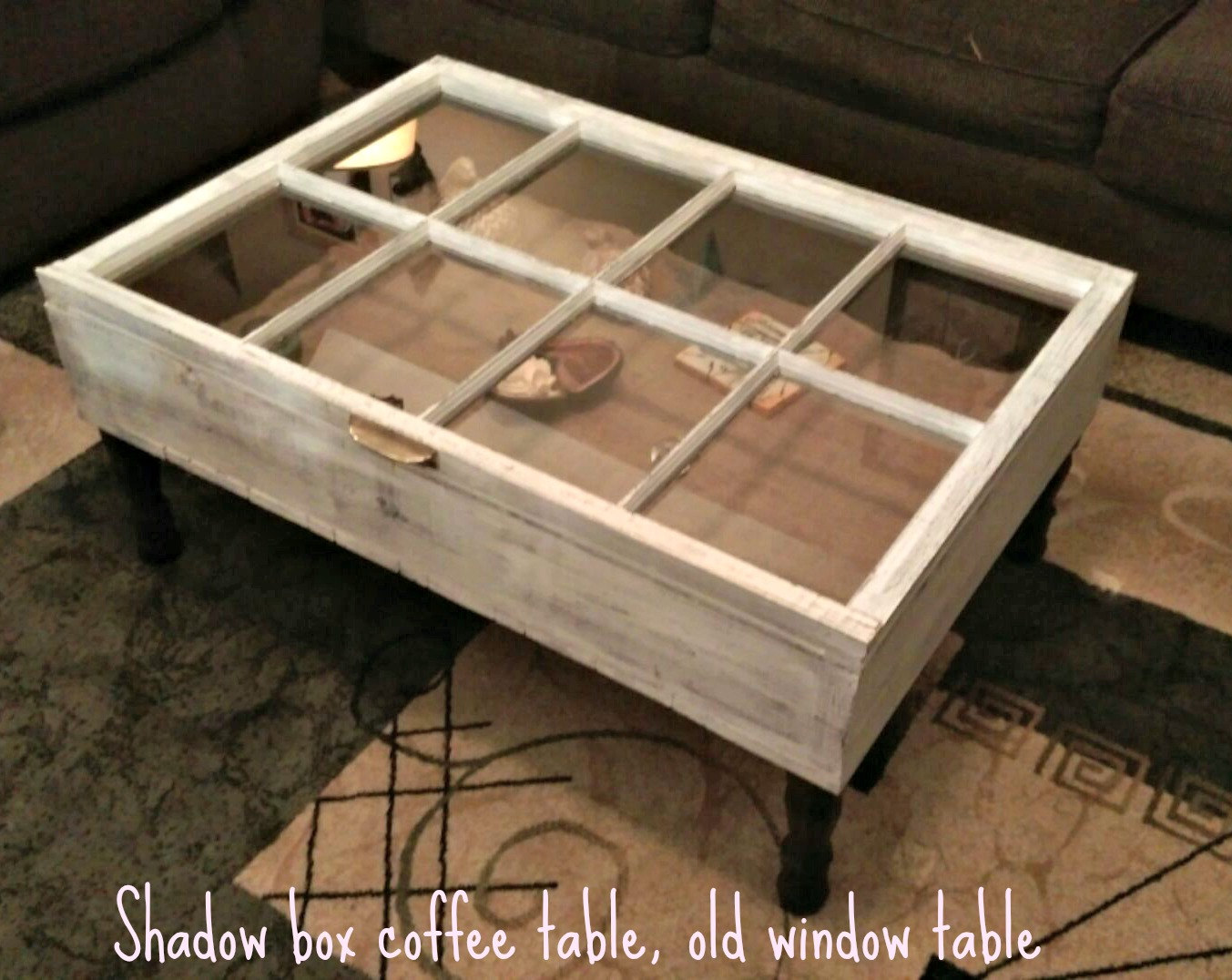 Rustic Coffee Table Shadow Box Military Display Storage Window Unique